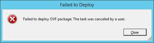 ova deploy error